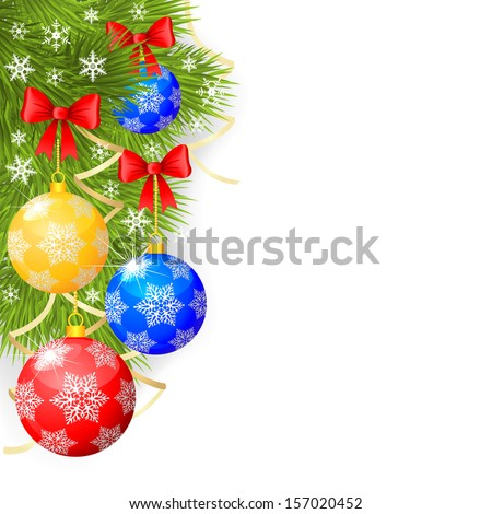 Congratulatory Christmas background with fir branches and decorative balls - stock photo