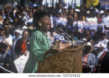 Congresswoman Maxine Waters addresses crowd at the Maxine Waters Employment Preparation Center during a 1992 Clinton/Gore campaign rally in So. Central, LA