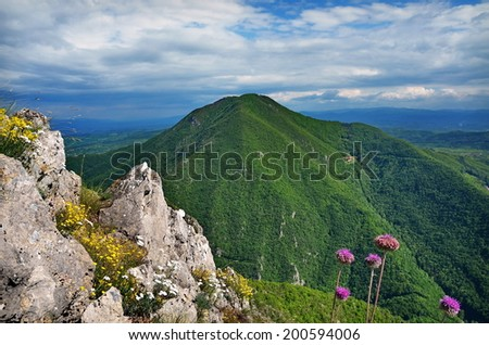 Conical hill - stock photo