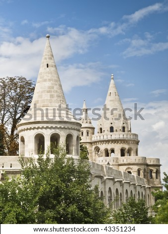 Conical towers of Fishermen's Bastion, located in the castle of Budapest (Hungary) - stock photo
