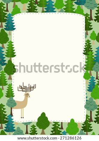 conifers pattern. Background of trees and deer. Earth day. Template with space for text