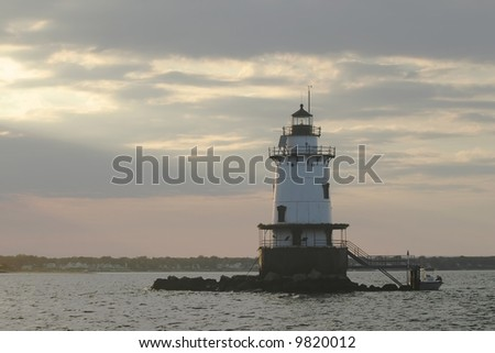 Conimicut lighthouse in the Rhode Island. - stock photo