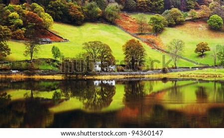 coniston water lake district cumbria england uk - stock photo