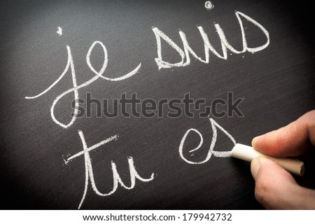 Conjugating verbs in French - stock photo