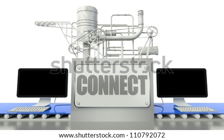 Connect net concept with computers and machine