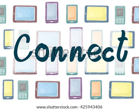 Connect Social Networking Interconnection Communication Concept - stock photo