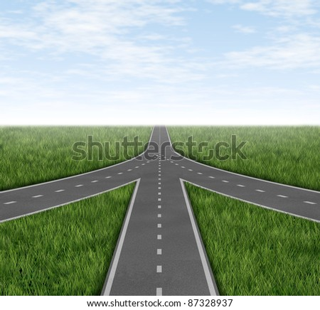 Connected and partnerships converging on the same road as a team sharing the same strategy and vision for the success of a company on three roads merging together with a sky and grass horizon. - stock photo