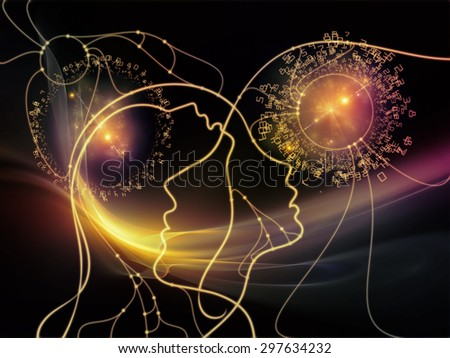 Connected Minds series. Background design of human profiles, wires, shapes and abstract elements on the subject of mind, artificial intelligence, technology, science and design - stock photo