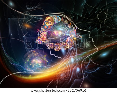 Connected Minds series. Design composed of human profiles, wires, shapes and abstract elements as a metaphor on the subject of mind, artificial intelligence, technology, science and design - stock photo