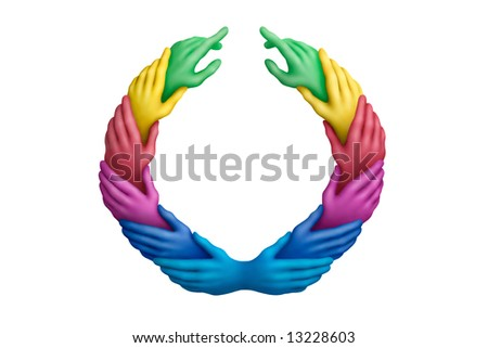 Connected multicolored plasticine hands on a white background - stock photo