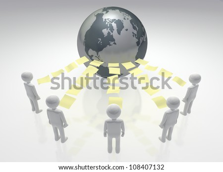 Connected Peers Network workers / individuals contributing files with the world - stock photo