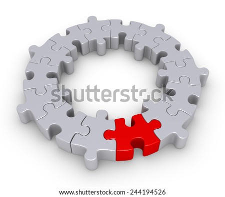 Connected puzzle pieces form a circle and one is of different color - stock photo