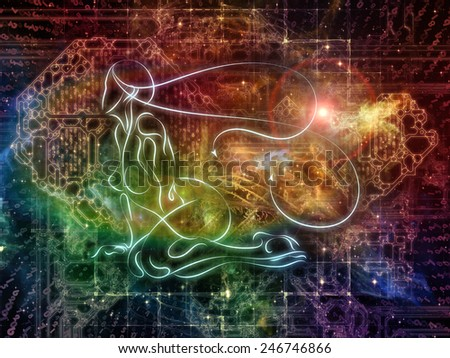 Connected Reality series. Composition of human lines, numbers, lights with metaphorical relationship to  metaphysics, religion, philosophy, science and modern technology - stock photo