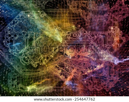 Connected Reality series. Composition of numbers, graphic elements, lights on the subject of  metaphysics, religion, philosophy, science and modern technology - stock photo