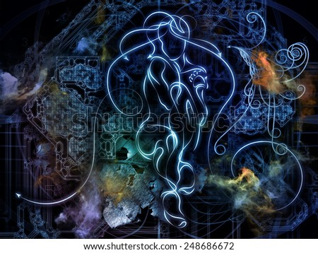 Connected Reality series. Interplay of human lines, numbers, lights on the subject of  metaphysics, religion, philosophy, science and modern technology - stock photo