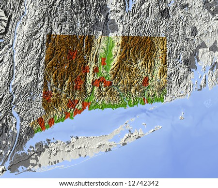 Connecticut. Shaded relief map.  Shows major urban areas and rivers, surrounding territory greyed out. Colored according to relative terrain height. Clipping path for the state area included. - stock photo