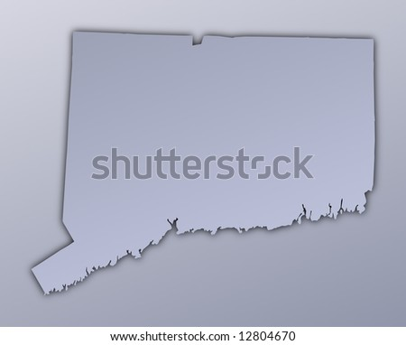 Connecticut (USA) map filled with metallic gradient. Mercator projection.