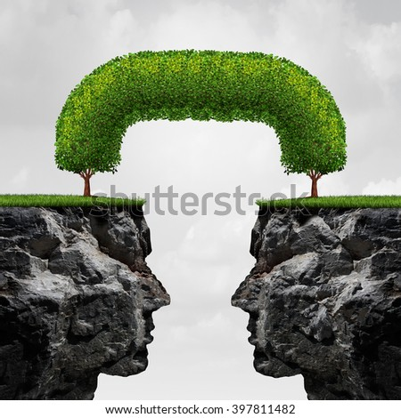 Connecting business concept as two separate detached 3D illustration cliffs connected together by trees that have merged together to form a long term union as a successful agreement metaphor. - stock photo