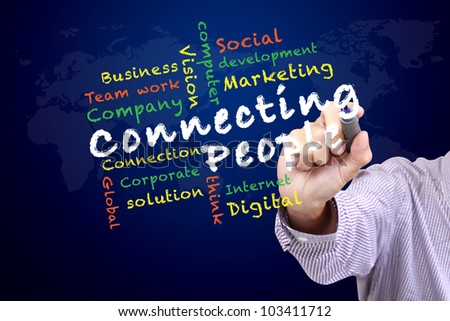 Connecting people concept and other related words,hand drawn on white board - stock photo