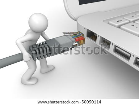 Connecting to network - 3d characters isolated on white background technology series - stock photo