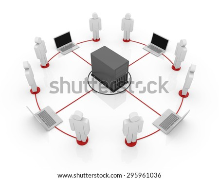 Connecting to server , This is a computer generated and 3d rendered picture. - stock photo