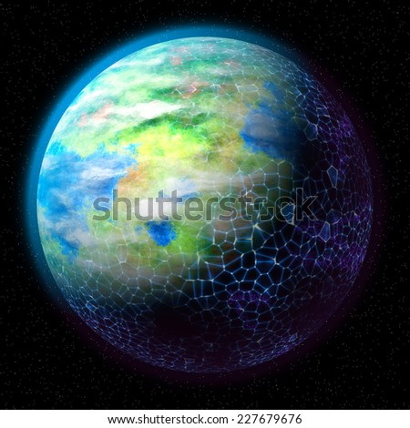 connection around globe in the night - stock photo