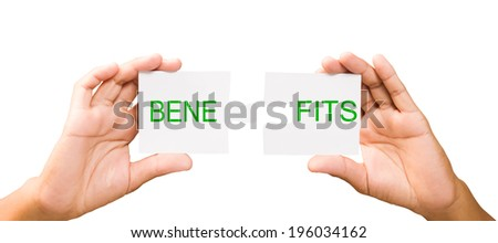 connection concept. hands with pieces of puzzle on white background, clipping path. Benefits - stock photo