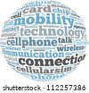 connection info-text graphics and arrangement concept on white background (word cloud) - stock photo