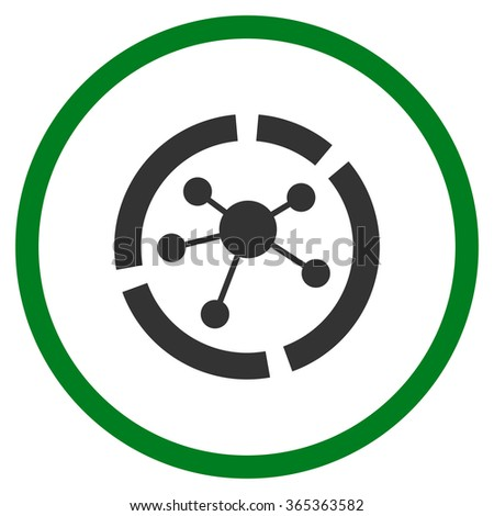Connections Diagram glyph icon. Style is bicolor flat circled symbol, green and gray colors, rounded angles, white background. - stock photo