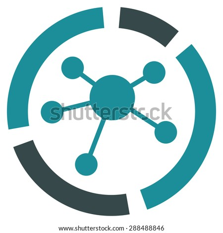 Connections diagram icon from Business Bicolor Set. Glyph style: bicolor flat symbol, soft blue colors, rounded angles, white background. - stock photo