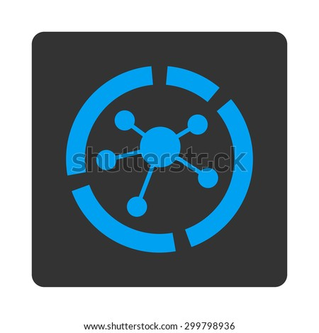 Connections diagram icon. Glyph style is blue and gray colors, flat rounded square button on a white background. - stock photo
