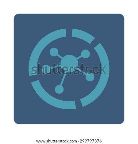 Connections diagram icon. Glyph style is cyan and blue colors, flat rounded square button on a white background. - stock photo