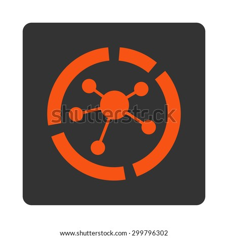 Connections diagram icon. Glyph style is orange and gray colors, flat rounded square button on a white background. - stock photo