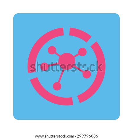 Connections diagram icon. Glyph style is pink and blue colors, flat rounded square button on a white background. - stock photo