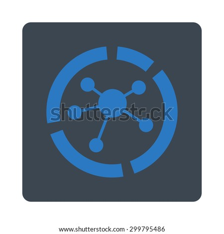 Connections diagram icon. Glyph style is smooth blue colors, flat rounded square button on a white background. - stock photo