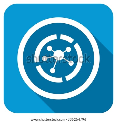 Connections diagram longshadow icon. Style is a blue rounded square button with a white rounded symbol with long shadow. - stock photo