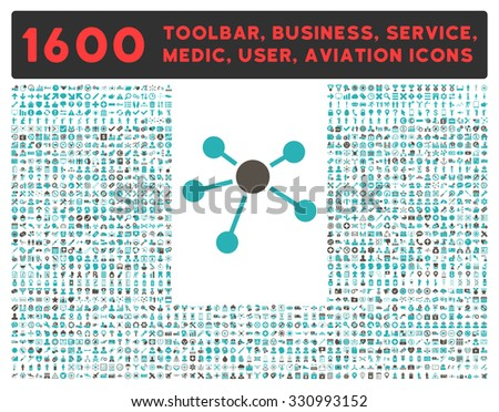 Connections glyph icon and 1600 other business, service tools, medical care, software toolbar, web interface pictograms. Style is bicolor flat symbols, grey and cyan colors, rounded angles, white - stock photo