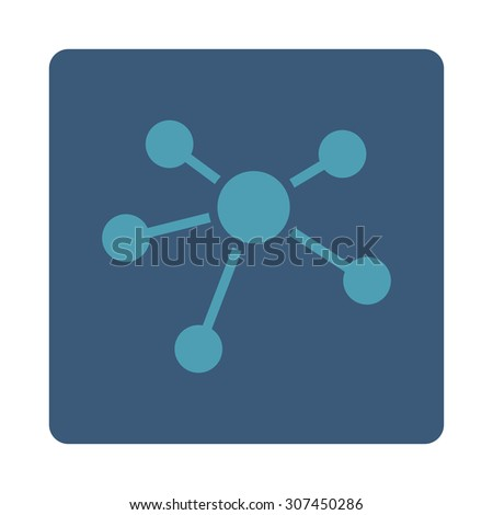 Connections raster icon. This flat rounded square button uses cyan and blue colors and isolated on a white background. - stock photo