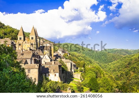 Conques medieval village and abbey Saint Foy, France - stock photo