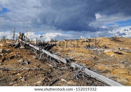 Consequences of activity of metallurgical factory. - stock photo