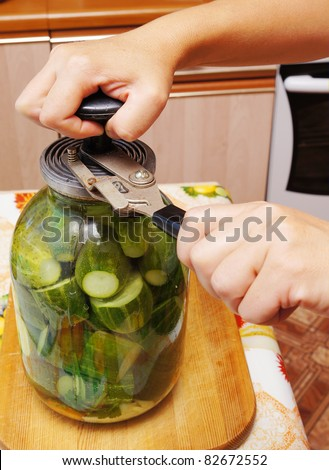 Conservation of cucumbers in a glass jar