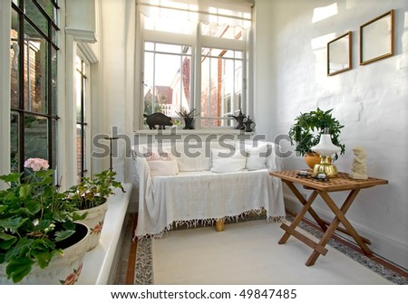 Conservatory in old house - stock photo