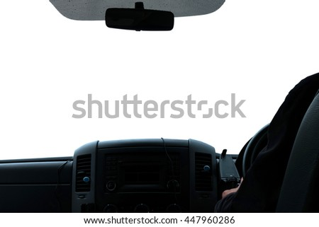 Console car and left hand of driver , Driver view , Isolated on white background - stock photo