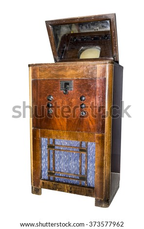 Console electronic television.Production in 1938. Is isolated on white - stock photo