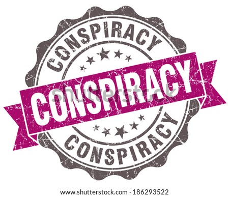 Conspiracy violet grunge retro vintage isolated seal - stock photo