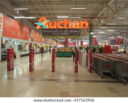 CONSTANTA, ROMANIA - JUNE 11, 2016. Auchan supermarket interior. Groupe Auchan SA is a French international retail group and multinational corporation headquartered in Croix, France. - stock photo