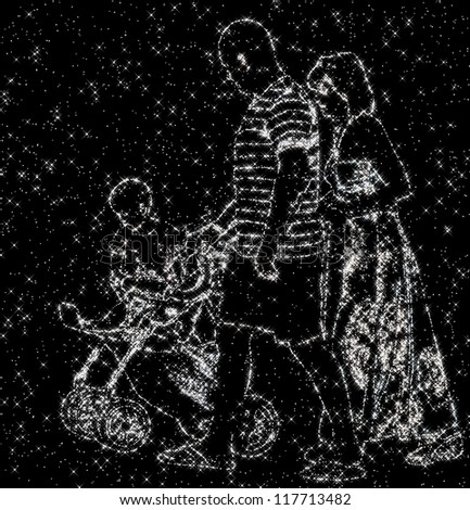 constellation image of family of daddy, mommy and baby - stock photo