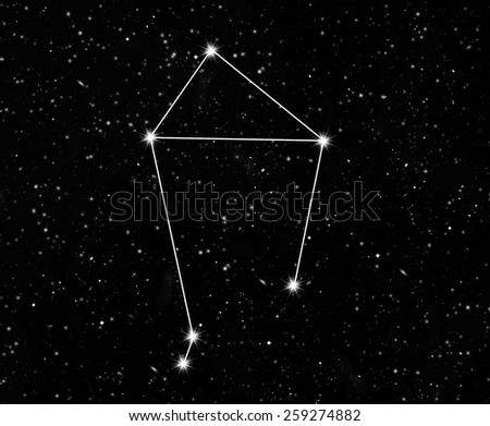 constellation scales against the starry sky - stock photo