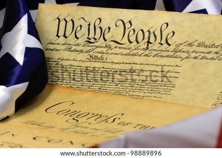 Constitution of the United States and American Flag, We The People� - stock photo