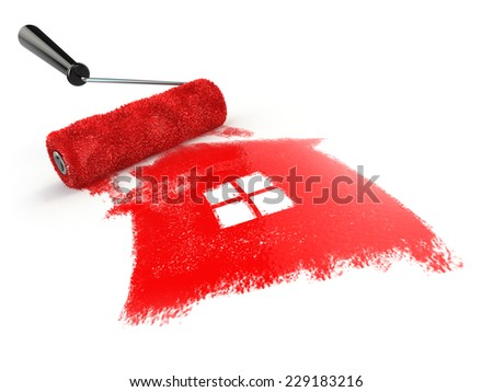 Construcrion concept.Roller brush with sign of house isolated on white.  3d - stock photo